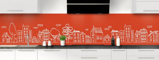 Crédence de cuisine Dessin de ville couleur rouge brique panoramique
