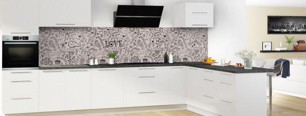 Crédence de cuisine Love illustration couleur argile panoramique en perspective