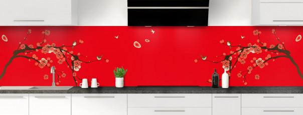 Crédence de cuisine Cerisier japonnais couleur rouge vif panoramique