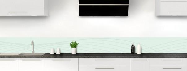 Crédence de cuisine Courbes couleur vert eau dosseret motif inversé