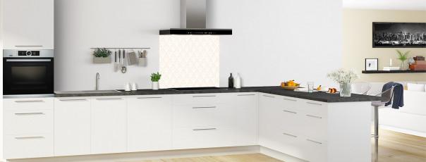 Crédence de cuisine Ecailles Magnolia couleur sable fond de hotte en perspective
