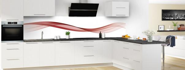 Crédence de cuisine Vague graphique couleur rouge carmin panoramique en perspective