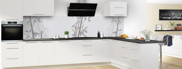 Crédence de cuisine Bambou zen couleur gris clair panoramique en perspective
