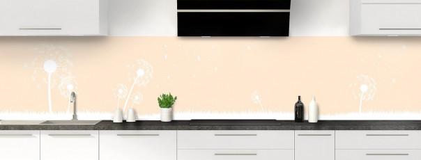 Crédence de cuisine Pissenlit au vent couleur sable panoramique