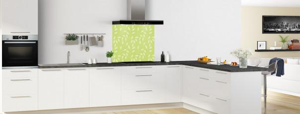 Crédence de cuisine Rideau de feuilles couleur vert olive fond de hotte en perspective