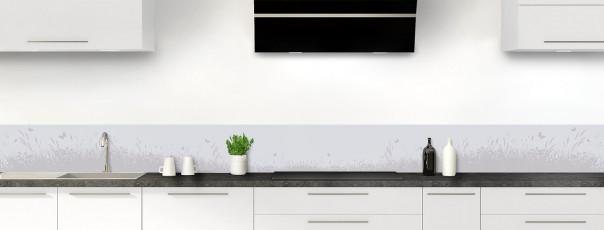 Crédence de cuisine Prairie et papillons couleur gris clair dosseret