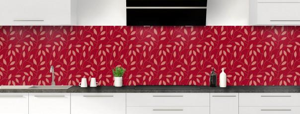 Crédence de cuisine Rideau de feuilles couleur rouge carmin panoramique