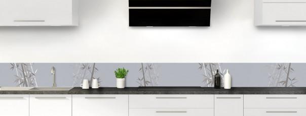 Crédence de cuisine Bambou zen couleur gris métal dosseret motif inversé