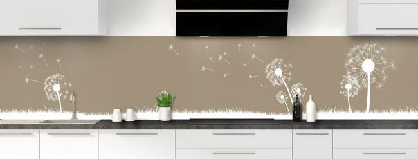 Crédence de cuisine Pissenlit au vent couleur marron glacé panoramique motif inversé