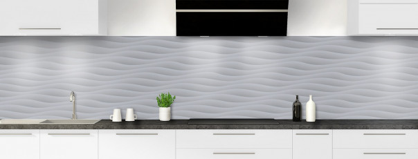 Crédence de cuisine Ondes couleur gris métal panoramique