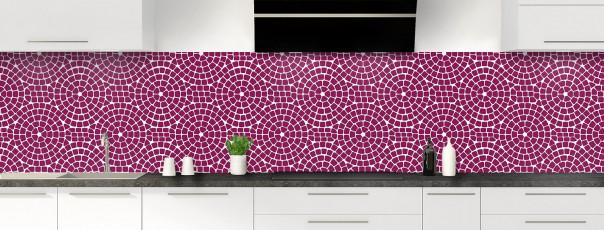 Crédence de cuisine Mosaïque cercles couleur prune panoramique