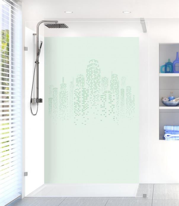Panneau de douche Gratte-ciels couleur vert eau motif inversé
