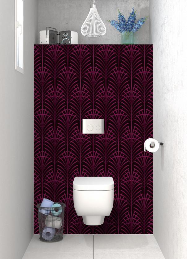 Panneau WC Feuilles de paume couleur prune