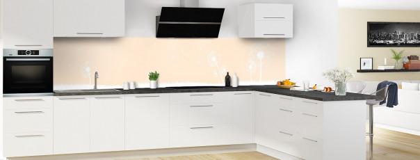 Crédence de cuisine Pissenlit au vent couleur sable panoramique motif inversé en perspective