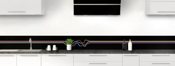 Crédence de cuisine Light painting couleur noir dosseret motif inversé