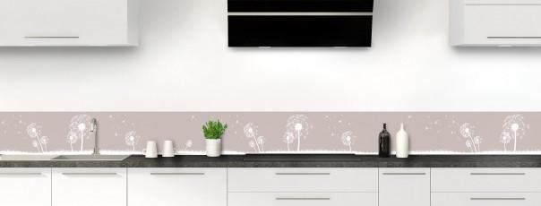 Crédence de cuisine Pissenlit au vent couleur argile dosseret motif inversé