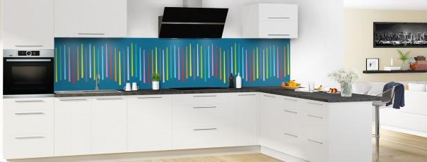 Crédence de cuisine Barres colorées couleur bleu baltic panoramique en perspective