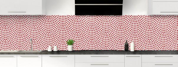 Crédence de cuisine Mosaïque petits cœurs couleur rouge carmin panoramique
