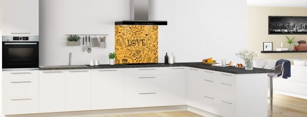 Crédence de cuisine Love illustration couleur abricot fond de hotte en perspective