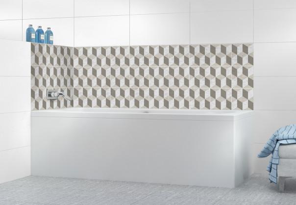 Panneau de bain Carreaux trompe-l'œil Taupe