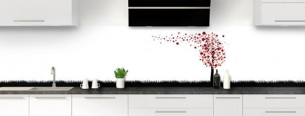Crédence de cuisine Arbre d'amour couleur rouge carmin panoramique motif inversé