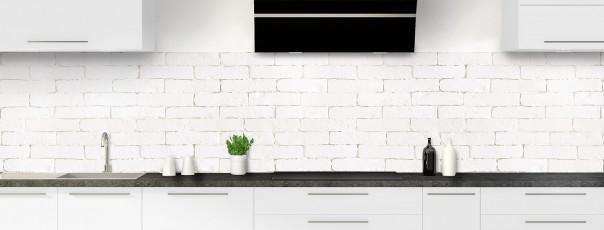 Crédence de cuisine Mur briques blanches panoramique