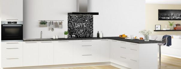 Crédence de cuisine Love illustration couleur noir fond de hotte en perspective