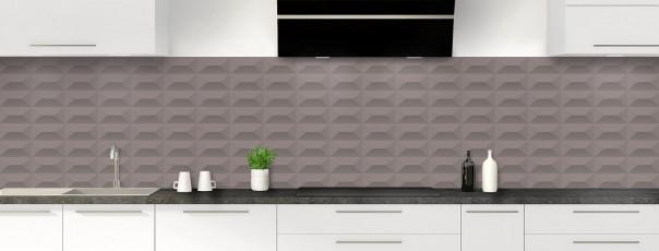 Crédence de cuisine Briques en relief couleur taupe panoramique