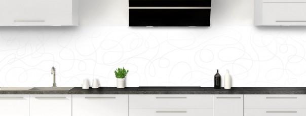 Crédence de cuisine Gribouillis couleur blanc panoramique