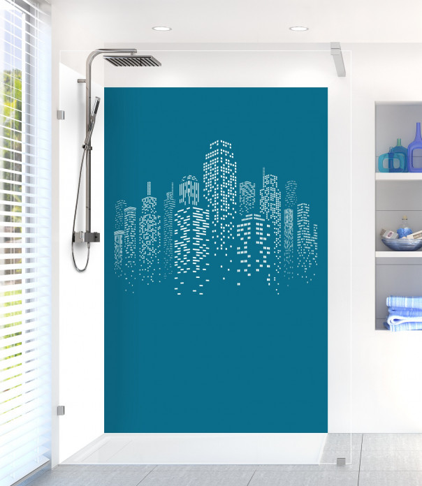 Panneau de douche Gratte-ciels couleur bleu baltic motif inversé