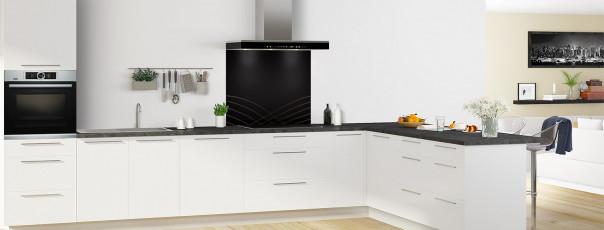 Crédence de cuisine Courbes couleur noir fond de hotte motif inversé en perspective