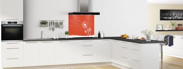 Crédence de cuisine Pissenlit au vent couleur rouge brique fond de hotte motif inversé en perspective