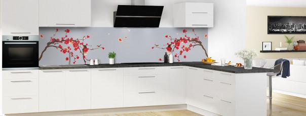 Crédence de cuisine Cerisier japonnais couleur gris métal panoramique en perspective