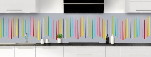Crédence de cuisine Barres colorées couleur gris métal panoramique