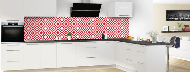 Crédence de cuisine Losanges vintage couleur rouge vif panoramique en perspective