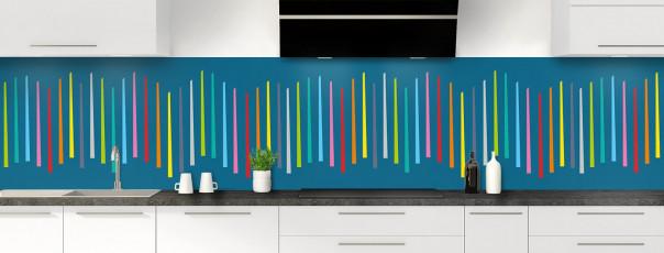Crédence de cuisine Barres colorées couleur bleu baltic panoramique