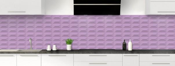 Crédence de cuisine Briques en relief couleur parme panoramique