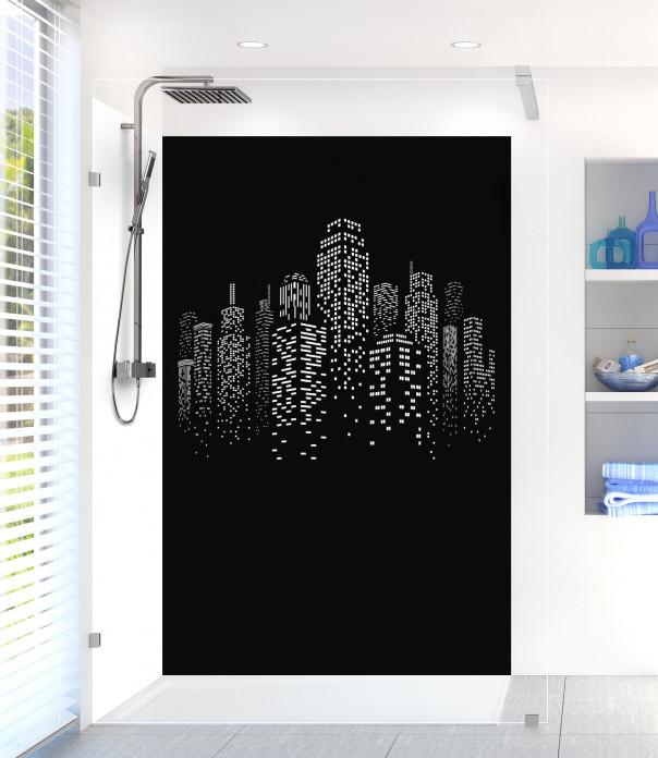 Panneau de douche Gratte-ciels couleur noir motif inversé