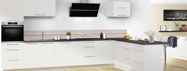 Crédence de cuisine Light painting couleur argile dosseret en perspective