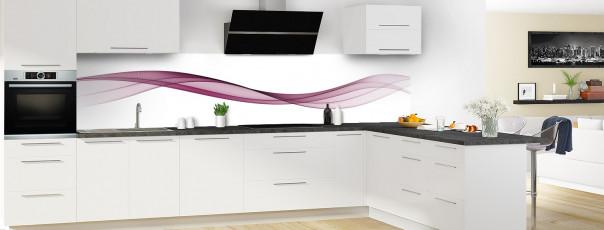 Crédence de cuisine Vague graphique couleur prune panoramique en perspective