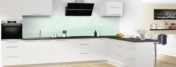 Crédence de cuisine Prairie et papillons couleur vert eau panoramique motif inversé en perspective