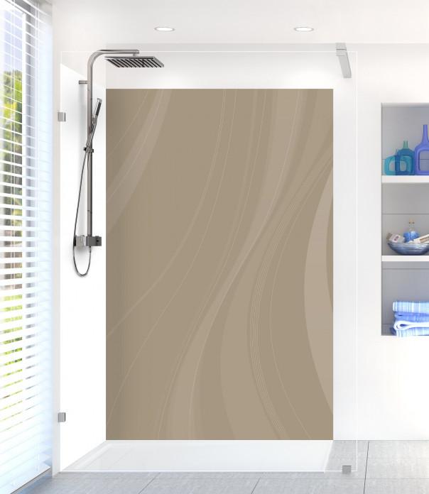 Panneau de douche Voilage couleur marron glacé motif inversé