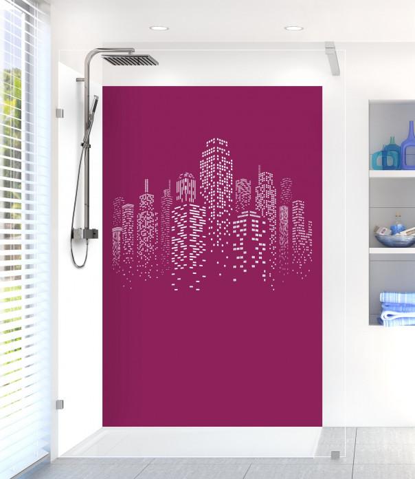 Panneau de douche Gratte-ciels couleur prune motif inversé