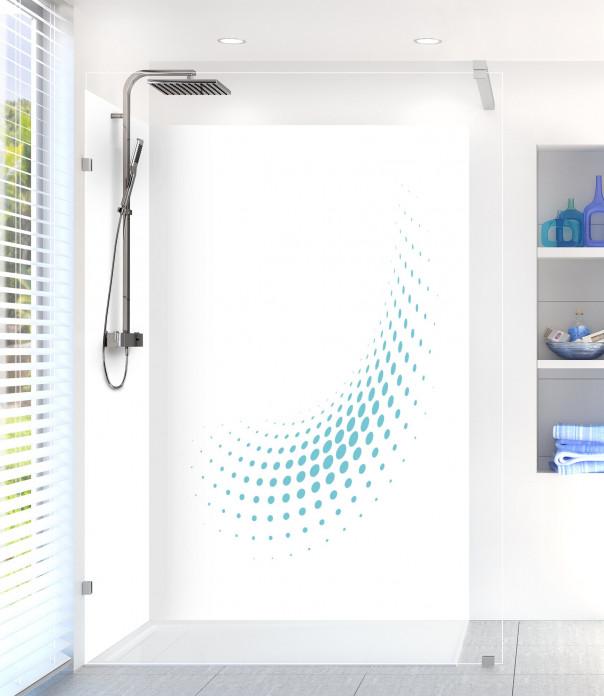 Panneau de douche Nuage de points couleur bleu lagon motif inversé