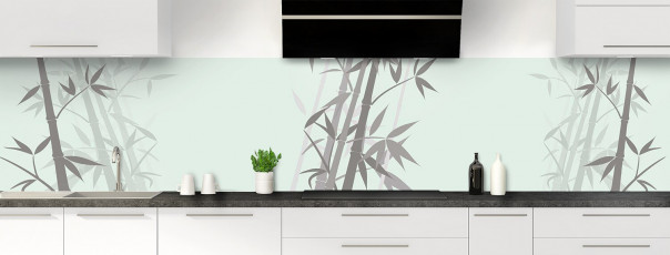 Crédence de cuisine Bambou zen couleur vert eau panoramique