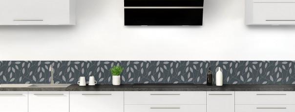 Crédence de cuisine Rideau de feuilles couleur gris carbone dosseret