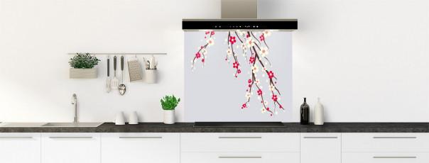 Crédence de cuisine Arbre fleuri couleur gris clair fond de hotte