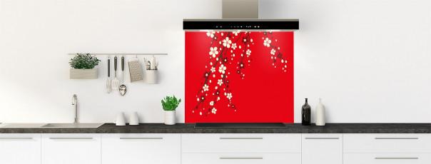 Crédence de cuisine Arbre fleuri couleur rouge vif fond de hotte motif inversé