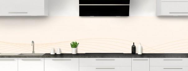 Crédence de cuisine Courbes couleur magnolia panoramique motif inversé