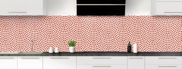 Crédence de cuisine Mosaïque petits cœurs couleur rouge brique panoramique